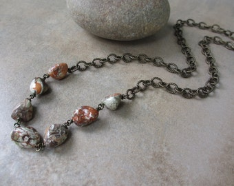Burnt Orange and Olive Green Long Necklace, Ocean Jasper, Bohemian, Earth Tone, Boho Chic, Antiqued Brass, Wire Wrapped, Beaded Necklace