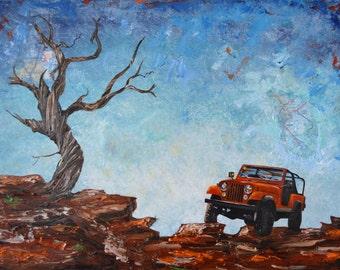 Red Jeep Scrambler Print 11x14