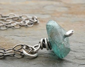 Blue Green Apatite Necklace, Gemstone, Sterling Silver
