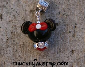 Shorter European Mrs Minnie Mouse Style Disney Inspired DeSIGNeR Lampwork Bracelet Charm Red Black Disneyland Magic