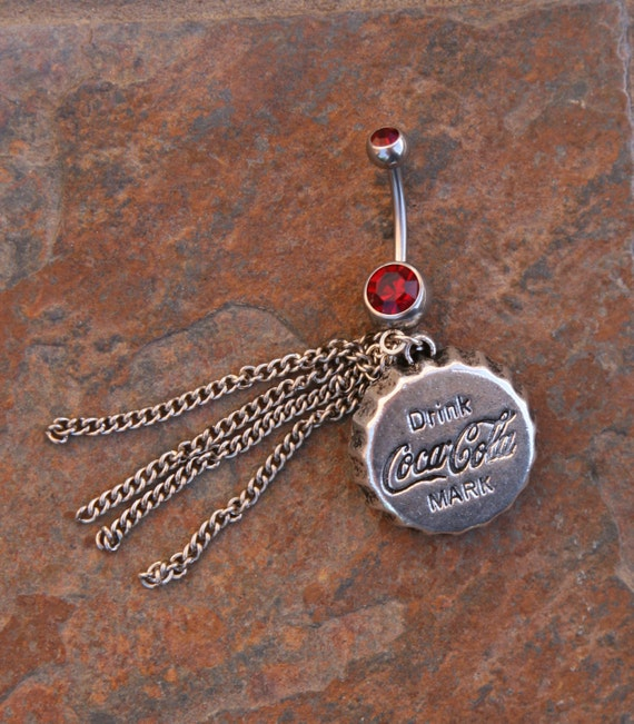 coca cola coke charm designer belly button ring by