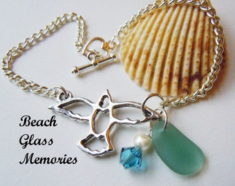 Dove Sea Glass Bracelet, Turquoise Sea Beach Glass Jewelry