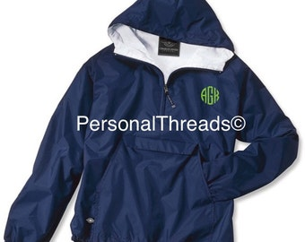 Monogram Rain Jacket, Monogrammed Rain Coat, Charles River Rain Jacket, Monogrammed Quarter Zip  Pullover, Mother's Day,  Teacher's Gift