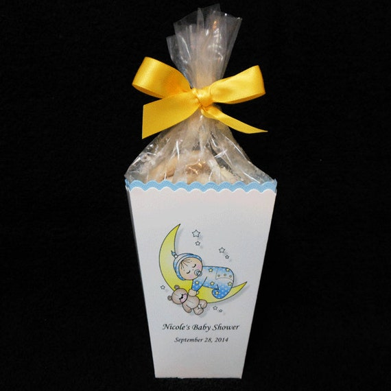 personalized baby shower popcorn box favor boxes baby boy on moon