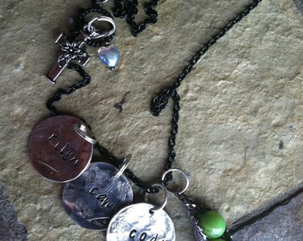 3 Peas in a Pod personalized necklace for mother or grandma rustic organic