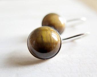 SALE - Tiger earrings. Sterling silver earrings with Tiger's Eye. Tiger's Eye dangles, brown dangles, Tiger dangles, gemstone, silver dangle