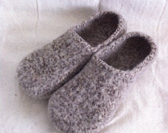 Wool Slippers Speckled Hen brown white slippers custom felted wool shoes free shipping