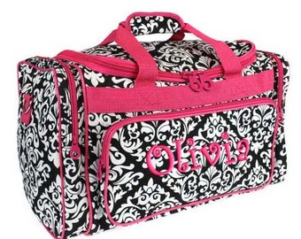 Personalized Duffel Duffle Bag Black Damask Hot Pink Accents  DANCE GYM Luggage
