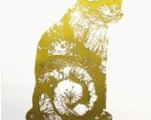Screen print called Golden Cat (forth from set of four) Limited edition artwork. Handmade - luck - animal - pet - lucky charm