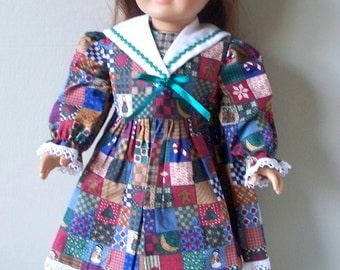 Handmade Doll Dress 18 inch doll dress Old fashioned dress with country quilt design