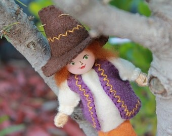 Felt Art Doll, hanging ornament, Papa The Dwarf On A Quest