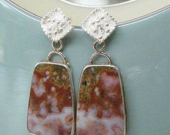 Ocean Jasper and Sterling Silver Earrings