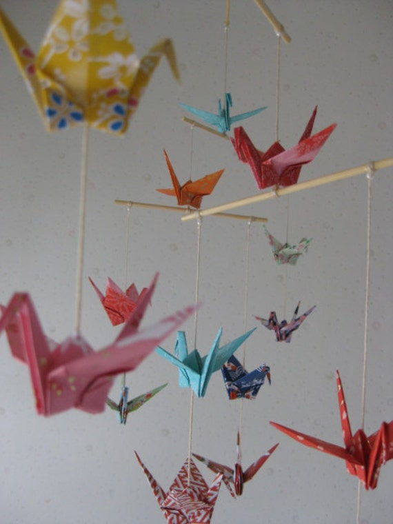 "16 Small Chiyogami Cranes Mobile - Yuzen Chiyogami, folded from 3.5"" Yuzen Chiyogami, Home Decor, Nursery Mobile, Baby Mobile, Nursery Decor"