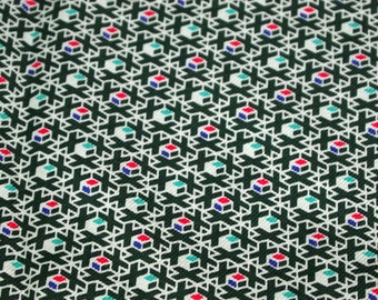SALE vintage 50s cotton novelty fabric featuring great geometric print, 1 yard, 2 available priced PER YARD