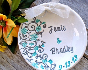Spring Floral Ring Bearer Bow1 - Personalized Wedding Ring Holder Alternative to Traditional Ring Pillow