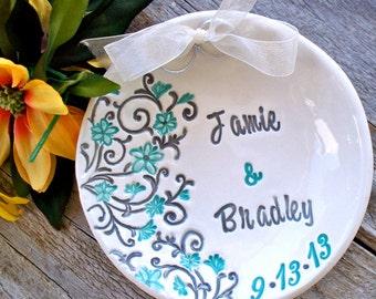 Spring Floral Ring Bearer Bowl, Personalized Ring Pillow Alternative, Wedding Ring Dish, Ring Warming Ceremony, Wedding Ring Bowl, Weddings