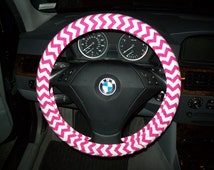 Fuchsia Chevron Steering Wheel Cover
