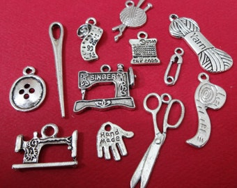 12 Assorted Sewing Theme Charms ITEM:AG12