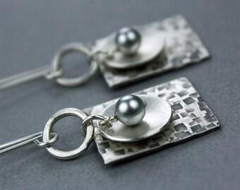 Geometric Pearl Earrings, Hammered Silver Rectangle Dangle Earrings
