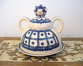 Old Bunzlauer Keramik Wiza Covered Butter Cheese Dish Polish Pottery