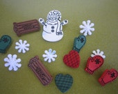 Dress it Up Buttons - Wintertime Christmas - Snowflakes - Snowman - Sled - Mittens