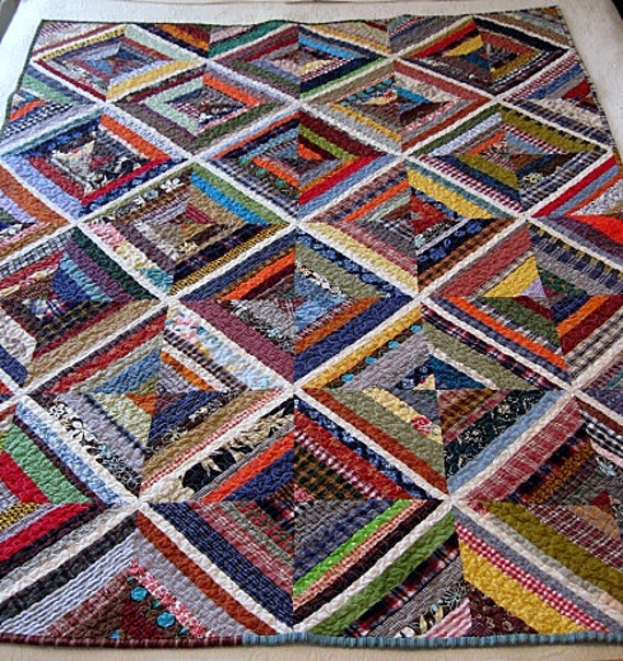 "RESERVED for Pat......kaleidoscope / farmhouse / homespun nap quilt.....60""x45"".......echo quilt no. 39 .... ready to ship"