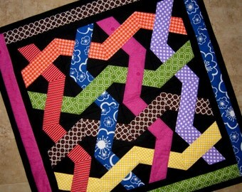 MODERN WOVEN Quilt from Quilts by Elena Wall Hanging Table Runner Bright Bold Colors on Black