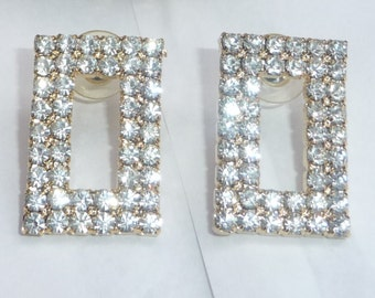 """Rectangle Rhinestone Earrings- Clear Sparkly Dazzling- Pierced Posts- Large Rectangles- Vintage Statement- Prong Set Crystals - 1.25"""" Length"""