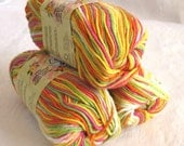Creme de la Creme Cotton Yarn, POPSICLE BRIGHTS,  red orange yellow green white fushsia rainbow