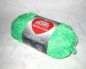 Red Heart Reflective yarn, Bright NEON GREEN bulky weight yarn, glow in the dark yarn