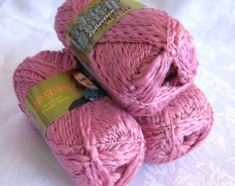 Rose Pink  silk wool blend yarn with metallic shimmer, SWTC Vegas, worsted weight