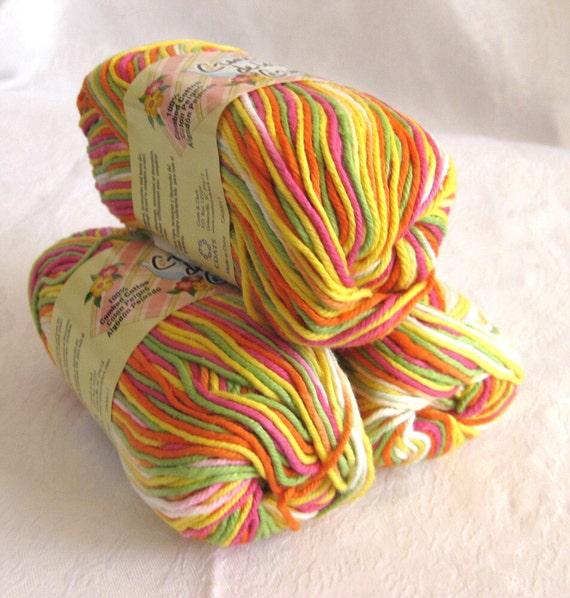 Creme de la Creme Cotton Yarn, POPSICLE BRIGHTS,  red orange yellow green white fushsia rainbow