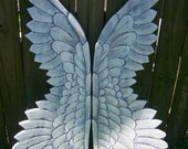 Wood Carved Angel Wings Large and Dramatic Brushed With a Pearl Finish 36 x 12