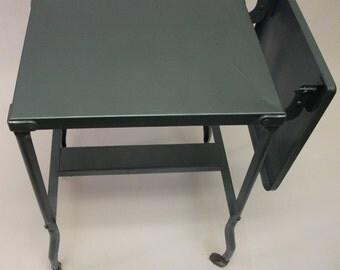 Handpainted Vintage Industrial Metal  Table Office Cart