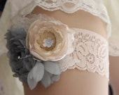 Victorian Garden garter set in tea stained hues and subdued blues
