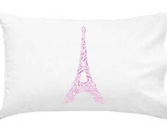 Personalized Pillowcase Eiffel Tower Pillow Monogram Room Decor Gift