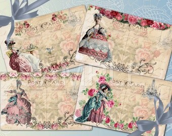 Instant Download - Marie Antoinette  Victorian Style -  French - Printable Digital Collage Sheet - Download