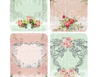 Instant Download -No. 1209 -   Printable Digital Collage Sheet  - Romantic Downloads Hang Tags Scrapbooking