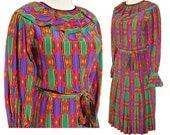 Vintage YSL Rive Gauche Silk Dress Yves Saint Laurent Geometric Harlequin Polychrome S