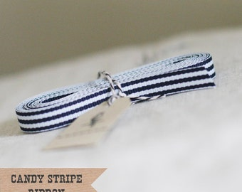 Dark Navy Candy Stripe Ribbon 4 yards