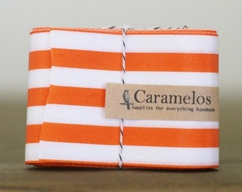 "2"" wide Orange and white stripe ribbon"