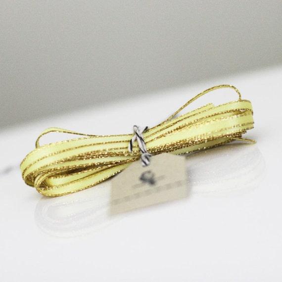 Light Yellow Sparkle Satin Twine Ribbon 5 yards