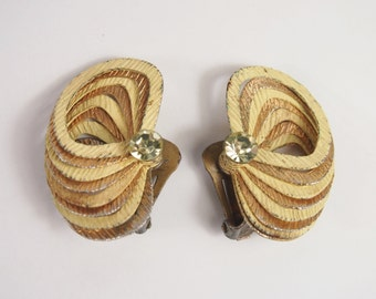Metal Tiered Layers Earrings Vintage 50s Jewelry