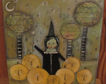 SALE Folk Art Original Collage Mixed Media Halloween Witch Pumpkin Painting EHAG PFATT