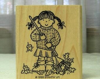 Wood Mounted Rubber Stamp- Girl Raking Leaves- Gently Used