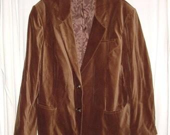 Vintage 80s Ladies Brown Velvet Sport Jacket 46 Blazer XL