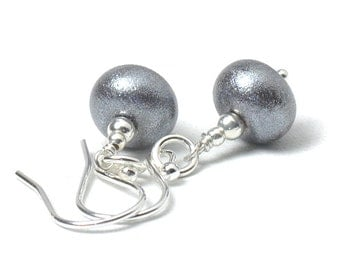 Pewter Earrings | Grey Glass Drop Earrings | Sterling Silver and Lampwork Glass Earrings