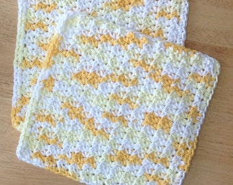 Crochet Cotton Dishcloth set of 2 in Yellow, white and gold yellow