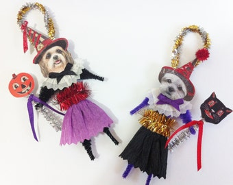 Shihpoo HALLOWEEN WITCH vintage style chenille ORNAMENTS set of 2 feather tree