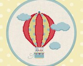 Up, Up and Away. Hot Air Balloon Ride, Clouds, Sweet Bunnies Cross Stitch Pattern PDF File